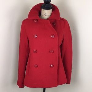 Double Breasted Red Peacoat